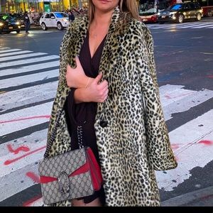 Express Leopard faux fur coat